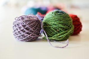 Garn: Grön å lila